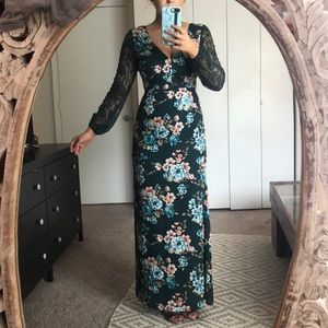 NWOT Floral Boho Maxi With Lace Sleeves